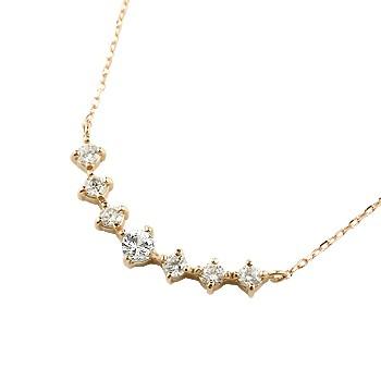 ダイヤモンド ネックレス 7石 ペンダント ダイヤ ピンクゴールドk18 アンティーク風 18金 チェーン 人気