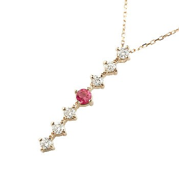 ルビー ダイヤモンド ネックレス 7石 ペンダント ダイヤ ピンクゴールドk18 アンティーク風 18金 チェーン 人気 7月誕生石