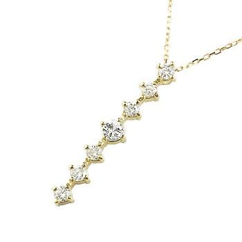 ダイヤモンド ネックレス 7石 ペンダント ダイヤ イエローゴールドk18 アンティーク風 18金 チェーン 人気