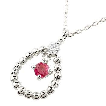 ルビー  プラチナネックレス ダイヤモンド ペンダント ドロップ型 チェーン 人気 7月誕生石 pt900