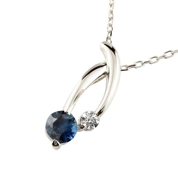 サファイア プラチナネックレス ダイヤモンド ペンダント チェーン 人気 9月誕生石 pt900