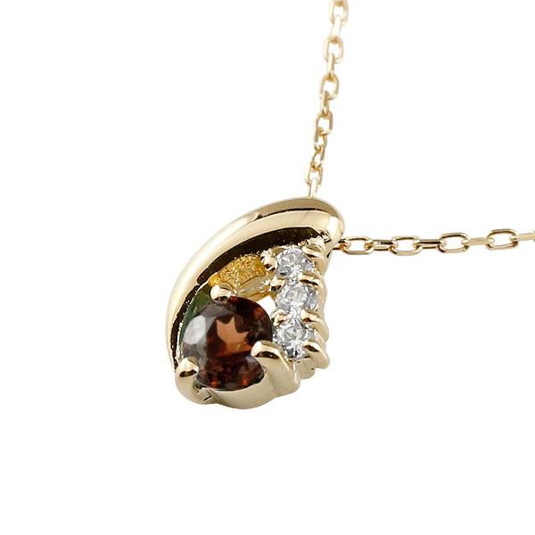 ガーネット イエローゴールドネックレス  ペンダント ドロップ型 チェーン ダイヤモンド 人気 1月誕生石 k18