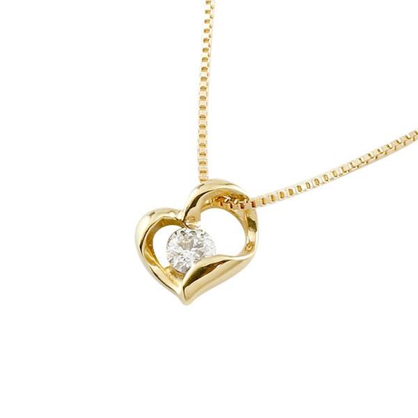 ダイヤモンド オープンハート ネックレス 一粒 イエローゴールドk18 ペンダント チェーン 人気 ダイヤ 18金