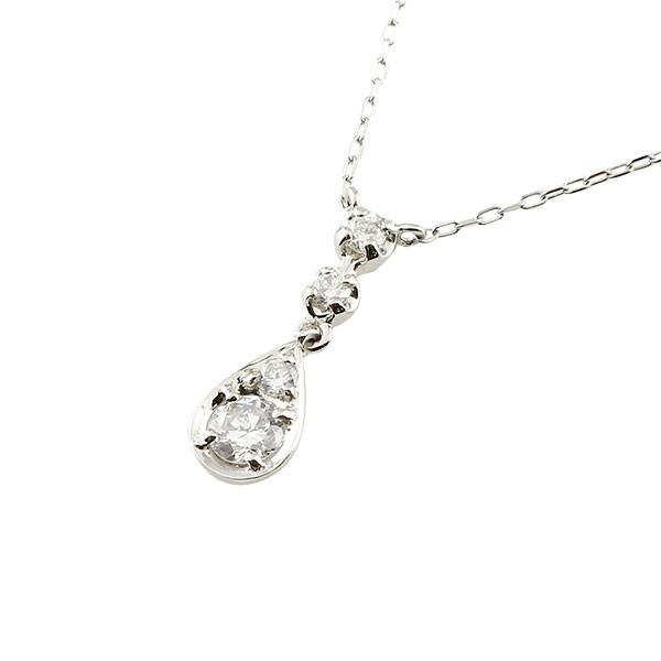 ダイヤモンド ドロップ型 ネックレス 一粒 プラチナ ペンダント チェーン 人気 ダイヤ