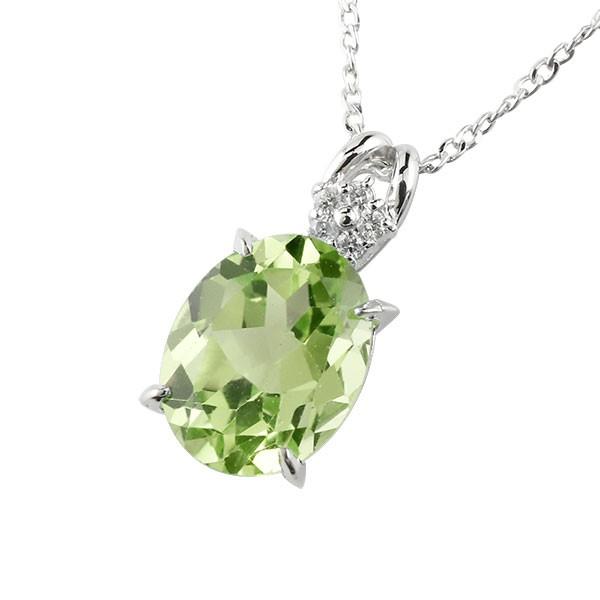 ネックレス ペリドット ペンダント ダイヤモンド プラチナ900 シンプル レディース チェーン pt900 人気 8月誕生石