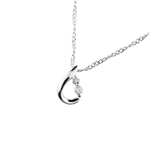 ティアドロップ ネックレス ダイヤモンド ダイヤ ペンダント ホワイトゴールドk18 18金 レディース チェーン 人気 宝石