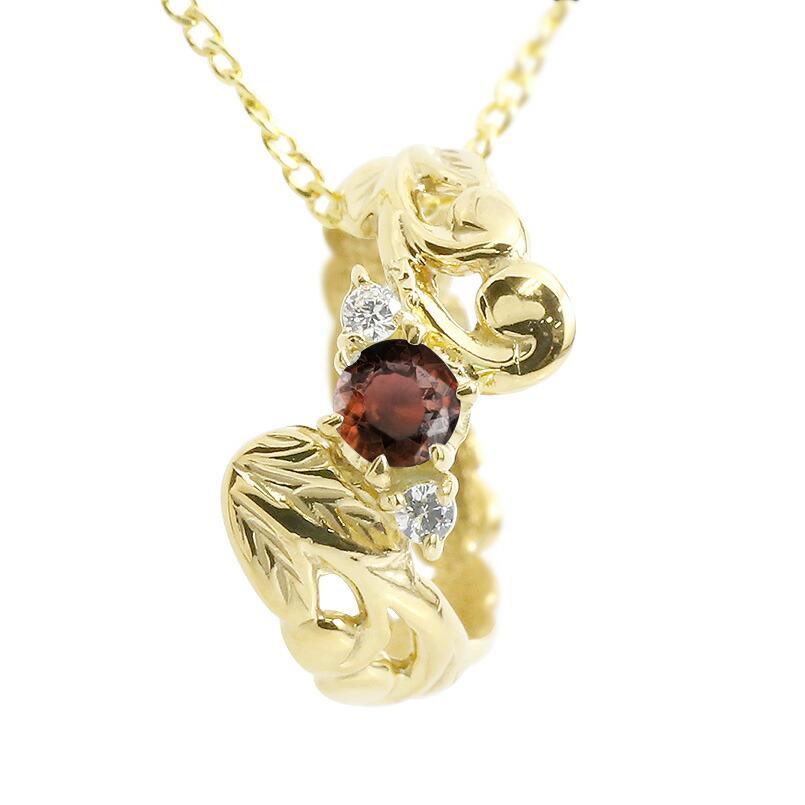 ハワイアンジュエリー ネックレス ガーネット ダイヤモンド イエローゴールドk18 ベビーリング チェーン ネックレス シンプル 人気 プレゼント