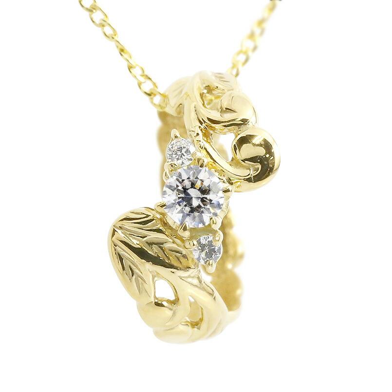 ハワイアンジュエリー ネックレス ダイヤモンド イエローゴールドk10 ベビーリング チェーン ネックレス シンプル 人気 プレゼント