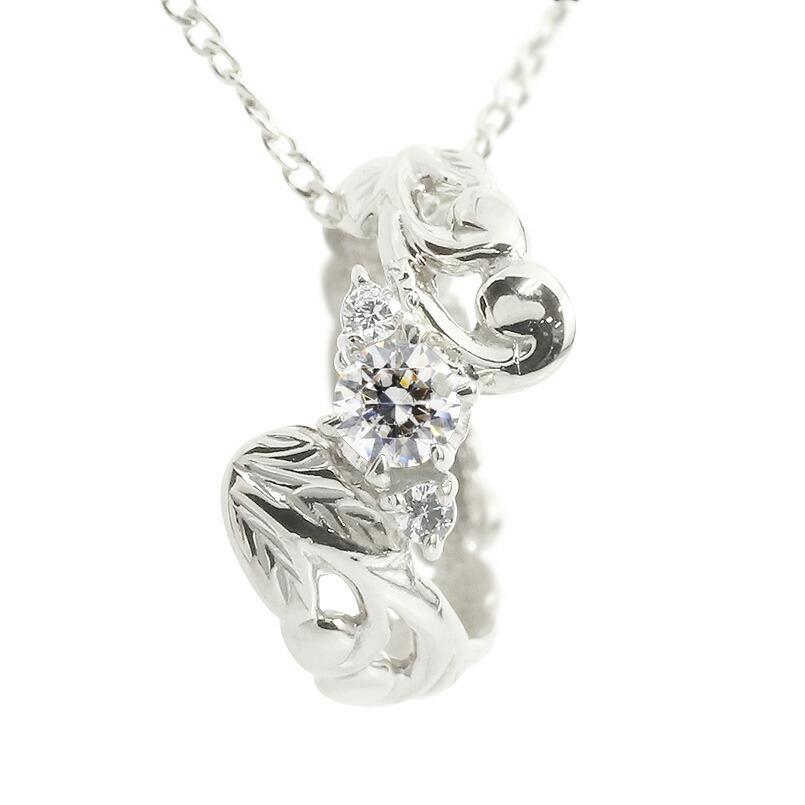 ハワイアンジュエリー ネックレス ダイヤモンド ホワイトゴールドk10 ベビーリング チェーン ネックレス シンプル 人気 プレゼント