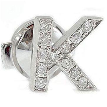 【送料無料】ダイヤイニシャルブローチプラチナ900:ダイヤモンド0.22ct :PT900:特別価格【工房直販】
