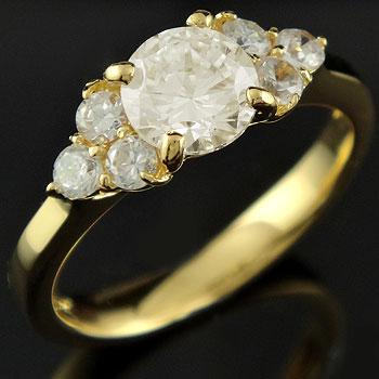 ダイヤモンド リング  一粒 大粒 エンゲージリング 婚約指輪 イエローゴールドk18