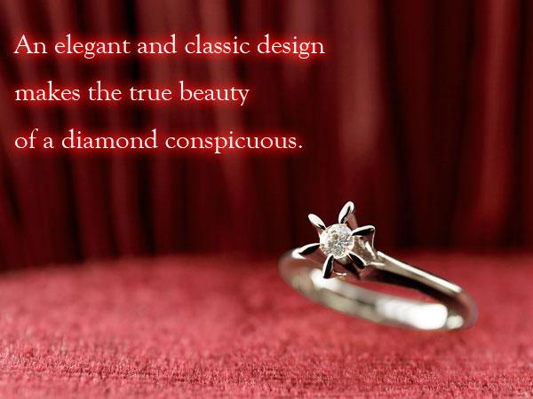 ダイヤモンド プラチナリング ソリティア 一粒 立爪 エンゲージリング 婚約指輪