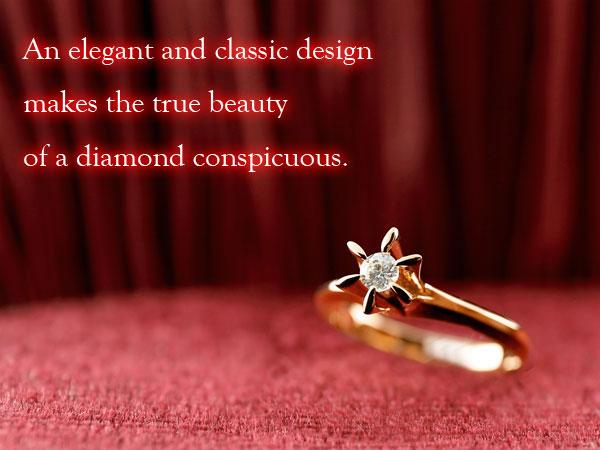 ダイヤモンド リング ソリティア 一粒 立爪 エンゲージリング 婚約指輪 ピンクゴールドk18