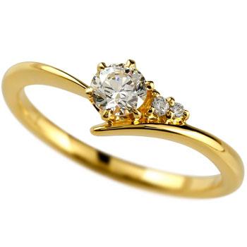 鑑定書付き SIクラス イエローゴールドK18 ダイヤモンド 婚約指輪 エンゲージリング リング 一粒 大粒 ダイヤ ストレート 18金