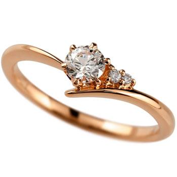 鑑定書付き VS1クラス ピンクゴールドK18 ダイヤモンド 婚約指輪 エンゲージリング リング 一粒 大粒 ダイヤ ストレート 18金