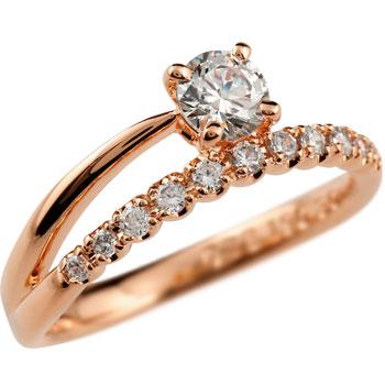 鑑定書付き 婚約指輪 エンゲージリング ダイヤモンド 一粒 大粒ダイヤ ピンクゴールドk18 VS 18金