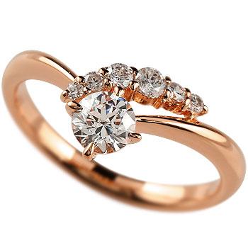 鑑定書付き エンゲージリング ダイヤモンド リング 一粒 大粒 婚約指輪 ピンクゴールドK18 SI 18金