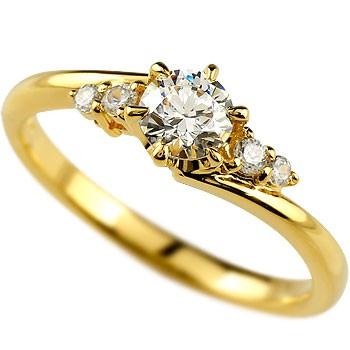 鑑定書付き 婚約指輪 エンゲージリング ダイヤモンド 一粒 大粒ダイヤ SI イエローゴールドk18 0.37ct 18金