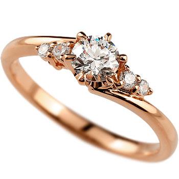 鑑定書付き SIクラス ピンクゴールドK18 ダイヤモンド 婚約指輪 エンゲージリング リング 一粒 大粒 ダイヤ ストレート 18金