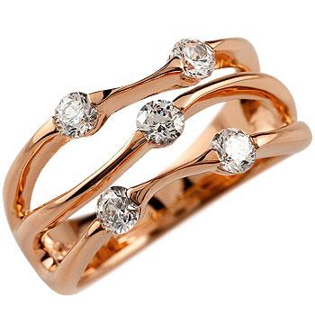 婚約指輪 エンゲージリング ダイヤモンド リング ダイヤ0.50ct 指輪 幅広リング ピンクゴールドk18 18金