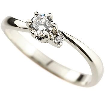 鑑定書付き ダイヤモンド リング 指輪 ピンキーリング ホワイトゴールドk18