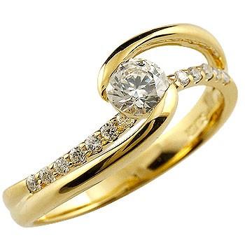 ダイヤモンド リング 指輪 大粒ダイヤ イエローゴールドk18 レディース