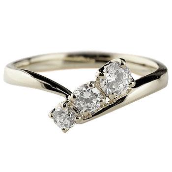 ダイヤモンドリング 指輪 ダイヤ スリーストーン トリロジー ホワイトゴールドk18 レディース