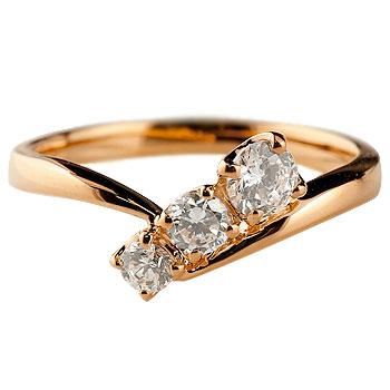 ダイヤモンドリング 指輪 ダイヤ スリーストーン トリロジー ピンクゴールドk18 レディース