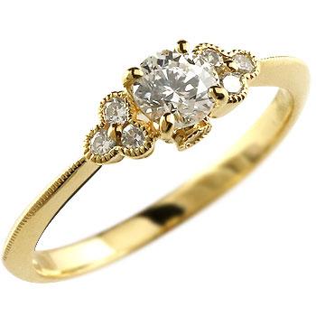 ダイヤモンド リング 指輪 大粒ダイヤ ミル打ち イエローゴールドk18 レディース