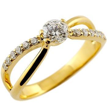 ,鑑定書付き ダイヤモンド リング 指輪 大粒 ダイヤ SIクラス イエローゴールドk18 レディース