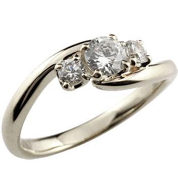 ダイヤモンド リング 指輪 ダイヤ スリーストーン トリロジー ホワイトゴールドk18 レディース