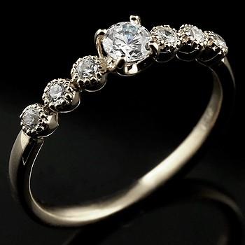 ダイヤモンド リング 指輪 大粒ダイヤ ミル打ち ホワイトゴールドk18 レディース