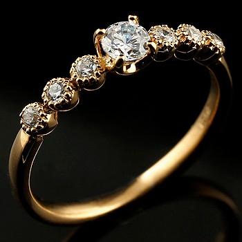 ダイヤモンド リング 指輪 大粒ダイヤ ミル打ち ピンクゴールドk18 レディース