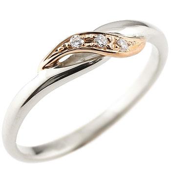 ダイヤモンド プラチナリング ピンキーリング ピンクゴールドk18 ダイヤ コンビリング 18金 ストレート 指輪