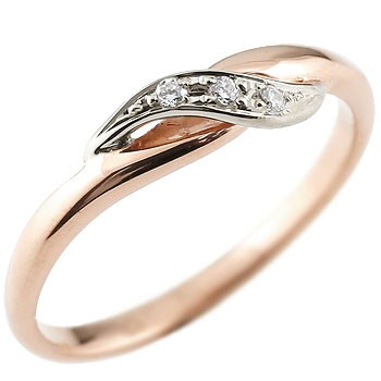 ダイヤモンド ピンキーリング ピンクゴールドk18 ダイヤ プラチナ 18金 ストレート 指輪