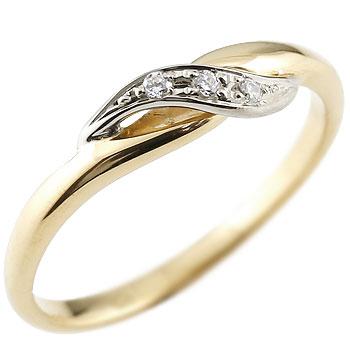 ダイヤモンド ピンキーリング イエローゴールドk18 ダイヤ プラチナ 18金 ストレート 指輪