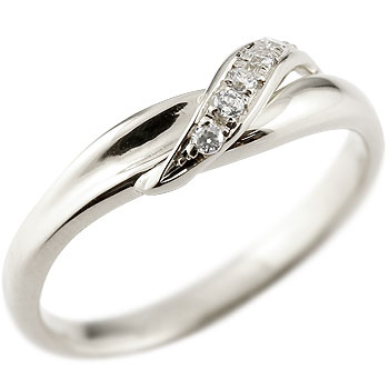 ダイヤモンド ピンキーリング ホワイトゴールドk18 ダイヤ 18金 ストレート 指輪