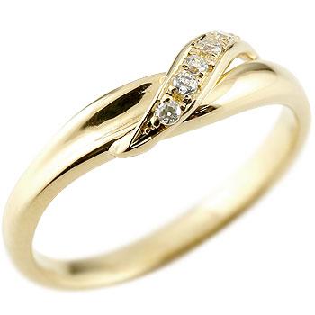 ダイヤモンド ピンキーリング イエローゴールドk18 ダイヤ 18金 ストレート 指輪