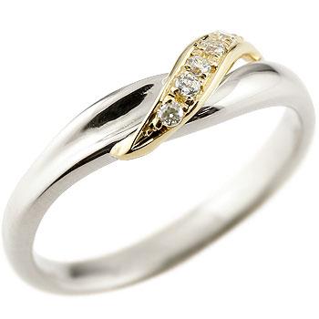 ダイヤモンド プラチナリング ピンキーリング イエローゴールドk18 ダイヤ コンビリング 18金 ストレート 指輪