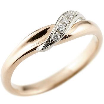 ダイヤモンド ピンキーリング ピンクゴールドk18 ダイヤ 18金 ストレート 指輪