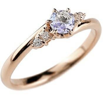 タンザナイト ダイヤモンド リング 指輪 一粒 大粒 ピンクゴールドK18 ストレート エンゲージリング 婚約指輪 18金