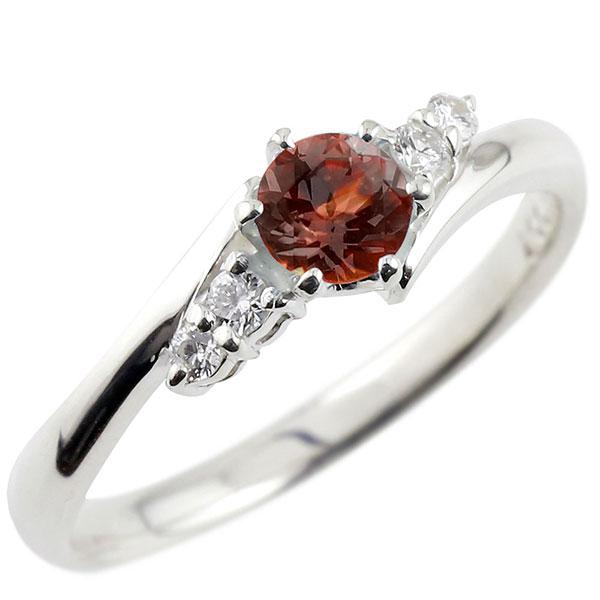 プラチナリング ガーネット ダイヤモンド リング 一粒 大粒 エンゲージリング pt900 ストレート