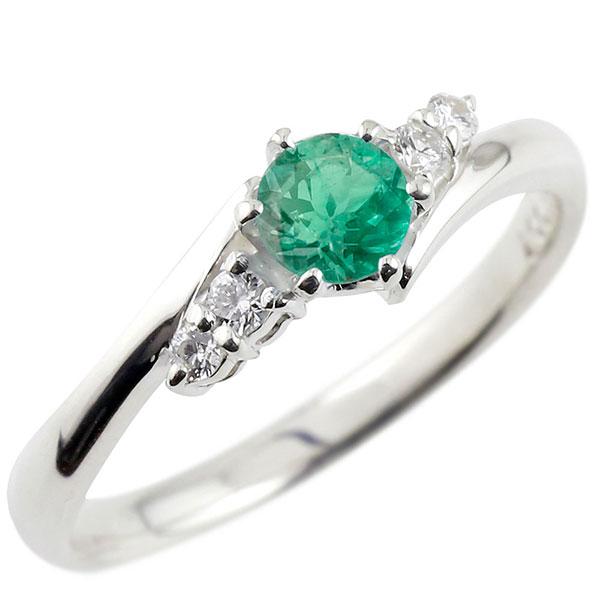 エメラルド ダイヤモンド リング 指輪 一粒 大粒 ストレート エンゲージリング 婚約指輪 シルバー