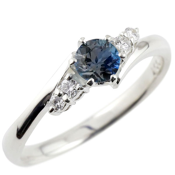 プラチナリング サファイア ダイヤモンド リング 一粒 大粒 エンゲージリング pt900 ストレート