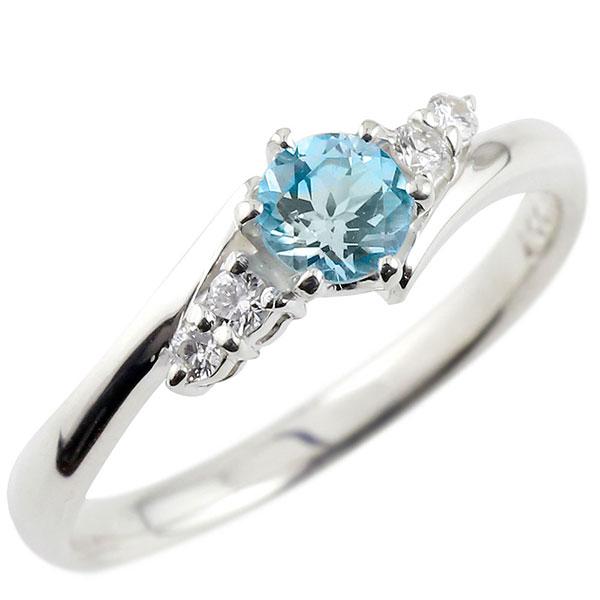 ブルートパーズ ダイヤモンド リング 指輪 一粒 大粒 ホワイトゴールドK18 ストレート エンゲージリング 婚約指輪 18金