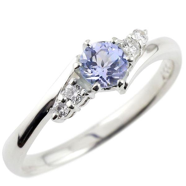 タンザナイト ダイヤモンド リング 指輪 一粒 大粒 ホワイトゴールドK18 ストレート エンゲージリング 婚約指輪 18金