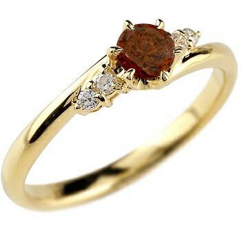ガーネット ダイヤモンド リング 指輪 一粒 大粒 イエローゴールドk10 ストレート エンゲージリング 婚約指輪 10金