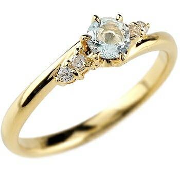アクアマリン ダイヤモンド リング 指輪 一粒 大粒 イエローゴールドk10 ストレート エンゲージリング 婚約指輪 10金