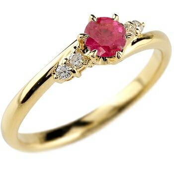 ルビー ダイヤモンド リング 指輪 一粒 大粒 イエローゴールドk10 ストレート エンゲージリング 婚約指輪 10金