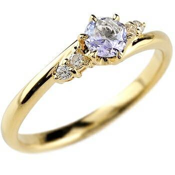 タンザナイト ダイヤモンド リング 指輪 一粒 大粒 イエローゴールドK18 ストレート エンゲージリング 婚約指輪 18金
